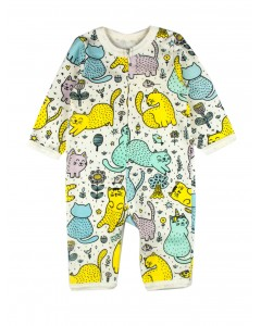 Jumpsuit with zipper 'Cats in the garden' white
