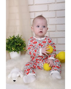 Jumpsuit with zipper 'Poppies' lactic