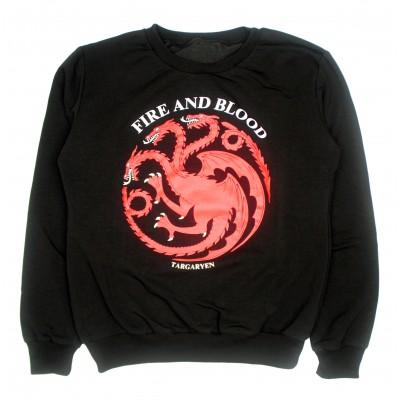 Свитшот женский черный Дракон красный