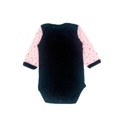 Бодік чорний рожеві рукава Little stars